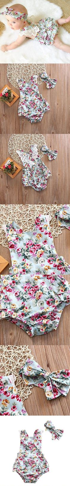 2pcs Baby Infant Girls Rompers Lace Dress Backless Floral Jumpsuit with Headband (12-18months, Floral)