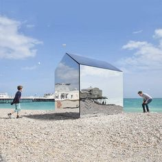 British-based ECE Architecture has produced a contemporary take on the iconic English hut from laser cut mirrored acrylic sheets for an art installation on Worthing Beach.