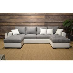 Canapé Angle convertible en U MELODIE(Gris/blanc, 4 places et +) Canapé Angle Convertible, Canapes, Garden Planning, Sofas, Couch, Places, Furniture, Living Rooms, Home Decor