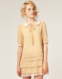 Dahlia Tiered Bell Sleeve Shift Dress With Crochet Trim Collar