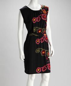 1562ee8fb56a1 Take a look at this Dily Black   Red Ruched-Waistband Dress on zulily today!