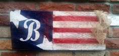 American flag outdoor decor. Hand painted. Distressed.
