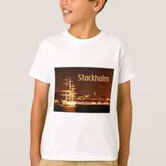 Ship at night in Stockholm Sweden T-Shirt - vintage gifts retro ideas cyo