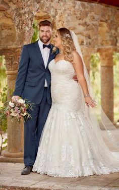 Courtesy of Essense of Australia wedding dresses; D2556+ Plus Size Lace Strapless Wedding Dress by Essense of Australia