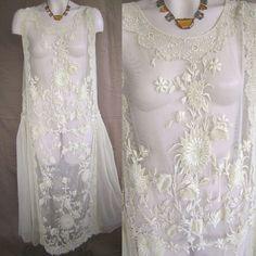 PRISTINE HAND EMBROIDERED IVORY NET FANCY IRISH LACE 20'S WEDDING DRESS LARGE #Handmade