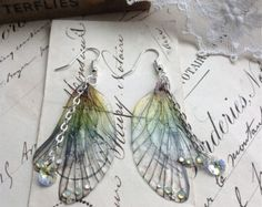 Rather pretty Rainbow Faerie wing earrings
