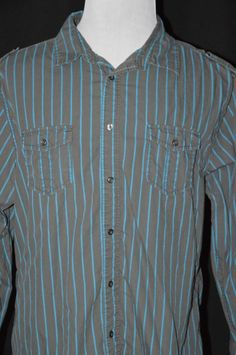 Refuel Mnes XXl Gray Blue Striped 3/4 Long Sleeve Shirt Button Down #Refuel #ButtonFront