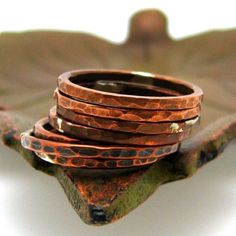 *hammered copper stacking rings - Love these, better if thick bands