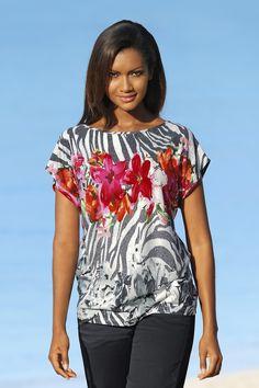 0c43ba68d1c35e ALBA MODA Shirt mit buntem und schwarz-weißem Blumendessin auf Zebraprint   ) Modisch