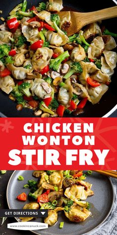 This 30-minute chicken wonton stir fry uses store-bought wontons and a quick homemade stir fry sauce. It's packed with veggies and flavor! 213 calories and 5 Weight Watchers SP | Recipes | Sauce easy | Recipe | Quick Stir Fry Recipes, Top Recipes, Side Dish Recipes, Grilling Recipes, Healthy Recipes, Weeknight Recipes, Weeknight Dinners, Easy Dinner Recipes, Yummy Chicken Recipes