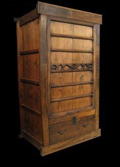 Japanese antique Zabuton chest (zabuton:  cushions for sitting on the floor).