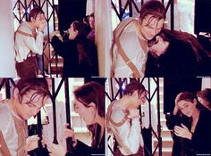 Leonardo DiCaprio and Kate Winslet behind the scenes of Titanic