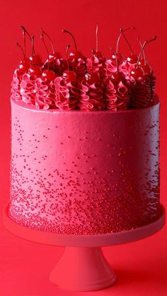 This cake, inspired by Lady Gaga's song, Eh, Eh (Nothing Else I Can Say), is a gorgeous shade of red and packed full of cherry flavor!
