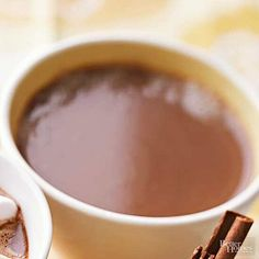 Peanut Butter Hot Cocoa: Kids will love this special Peanut Butter Cocoa. After cooking is done, simply whisk in the creamy peanut butter (don't use chunky-style for this recipe). Yummy Treats, Sweet Treats, Yummy Food, Nutella, Cocoa Recipes, Savarin, Creamy Peanut Butter, Saveur, Slow Cooker Recipes