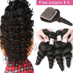 7A Braziliaanse Virgin Haar 3/4 bundels Met Sluiting Rosa Haarproducten Braziliaanse Losse Golf Met Sluiting Menselijk Haar Weave Bundels