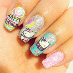 Looking for really NEW ideas of BIRTHDAY NAILS? We`ve found 70 cute pictures with B-day manicure for all ages. Hello Kitty Nails, Birthday Nails, Manicure, Nail Designs, Ideas, Nail Bar, Nails, Nail Desings, Polish