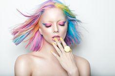 Candy Rainbow Hair - 'Spin the Spectrum' Hair by Byron Turnbull for Culture Magazine #RainbowHair