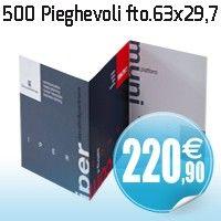 500 pieghevoli formato aperto 63 x 29.7 carta patinata opaca da 300 gr