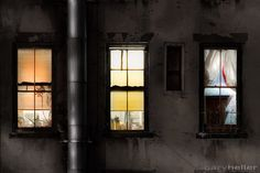 three windows and pipe - 8x12 fine art photography print, signed. Urban windows illuminated at night