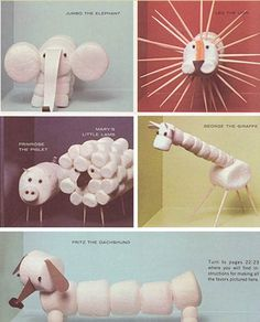 marshmallow animals, too cute!... and easy to do !