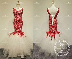 Mermaid V-neck Red Lace Evening Dress,Mermaid Party Dress,Mermaid Wedding Dress,Red Lace Ivory Tulle Skirt Prom Dresses