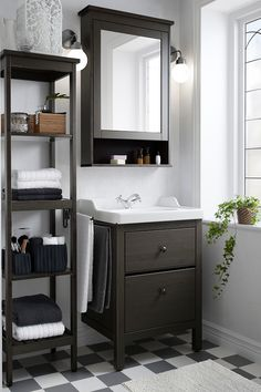 Bathroom Storage Make the most out of small bathroom spaces like using the HEMNES sink cabinet, shelf and mirror cabinet to stay organized in style. Bad Inspiration, Bathroom Inspiration, Bathroom Ideas, Bathroom Vanities, Budget Bathroom, Bathroom Remodeling, Bathroom Designs, Bathroom Lighting, Bath Ideas