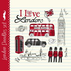 Items similar to London clip art, unique, hand drawn clipart, symbols of Great Britain on Etsy London Icons, London Bus, London City, London Poster, Theme Anglais, Jean Miro, Drawing Clipart, London Travel, Illustrations