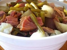 Slow Cooker Ham, Potatoes & Green Beans