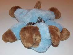 "Carters Blue Brown Puppy Dog Stuffed Animal Plush Lovey Security 12"" 39820 Baby #Carters"