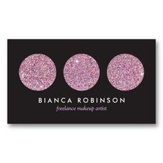 Pink Glitter Makeup Palette Customizable Business Card for Freelance Makeup Artist