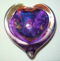 BIZARRE Iridescent DICHROIC Glass PAPERWEIGHT HEART Signed UNIQUE Color COMBO