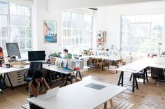 OPEN studios – Creative Home Office Design Design Studio Office, Workspace Design, Office Workspace, Office Spaces, Studio Desk, Workshop Studio, Studio Spaces, Workspace Inspiration, Co Working