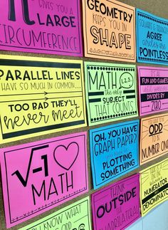 Math Puns Posters by smackdabinthemiddle Math College, Math Bulletin Boards, Interactive Bulletin Boards, Math Boards, Classroom Board, Line Math, Math Classroom Decorations, Classroom Ideas, Sixth Grade Math