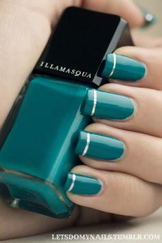 Teal with horizontal stripe #nails #nailtastic