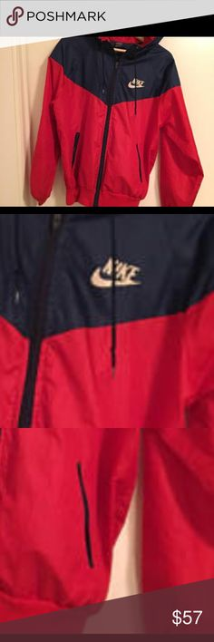 Nike windbreaker never used. In GREAT condition. Red and Blue jacket women's S. I am an XS and it's to big on me. I love it but it's too big. Dang it Nike Jackets & Coats