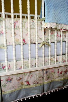 Over the Moon Toile, Nursery Rhyme toile, custom made crib set