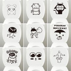 Lovely Toilet Stickers DIY Vinyl Home Decor Removable Bathroom Stickers Mual Art Waterproof Wallpaper WC Closestool Stickers Bathroom Stickers, Bathroom Wall Stickers, Wall Stickers Wallpaper, Bathroom Decals, Diy Stickers, Wall Drawing, Mural Art, Easy Drawings, Wall Design