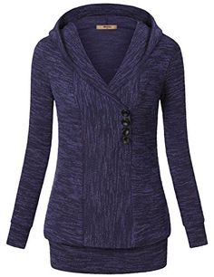 Miusey Women s Long Sleeves V Neck Vintage Pullover Sweater with Hood Thick  Sweaters 79014591e
