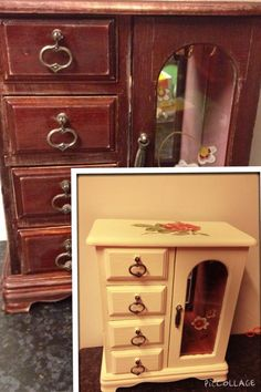 Old jewellery box sanded then painted with wilkos furniture & cupboard paint crushed almond satin then decopauge on top