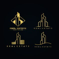 Real estate gold color logo set - Buy this stock vector and explore similar vectors at Adobe Stock Logo Real, Building Logo, Art Deco Logo, Corporate Logo Design, Identity Design, Business Design, Creative Business Cards, Corporate Design, Carte De Visite
