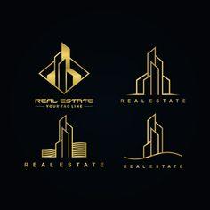 Real estate gold color logo set - Buy this stock vector and explore similar vectors at Adobe Stock Logo Real, Corporate Logo Design, Business Card Design, Building Logo, Arquitectura Logo, Logo Apple, Construction Company Logo, Property Logo, Architect Logo