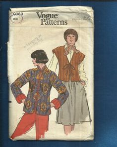 1970's Vogue 9069  Asian Influenced Quilted Jacket   This is the closest to the on screen cut of Sarah Janes's Jacket from Doctor Who and The Brian Of Morbius