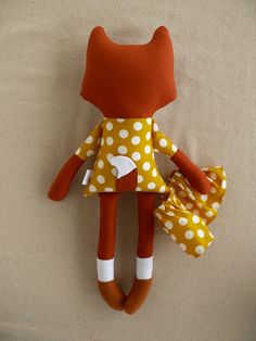 Reserved for Lauren Fabric Doll Rag Doll Red Fox in от rovingovine