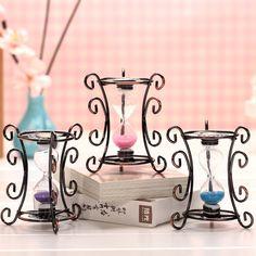 Creative Vintage Iron Hourglass Sandglass Craft Gift Ornament Home Decor