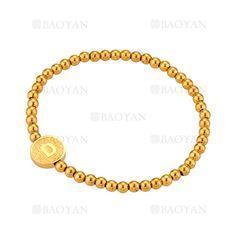 pulsera de bolitas con letra D de dorado en acero-SSBTG1094302