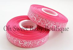 Fancy Swirl Ribbon With Foil Accent Shocking Pink-