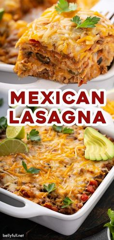This Mexican Lasagna Recipe is a delicious twist on traditional Italian lasagna with layers of corn tortillas, ground beef, refried beans, taco sauce, and cheese. It can be made ahead and is freezer f Mexican Lasagna With Tortillas, Mexican Lasagna Recipes, Mexican Dinner Recipes, Easy Dinner Recipes, Easy Meals, Mexican Lasagne, Corn Tortilla Recipes, Corn Recipes, Recipes With Corn Tortillas