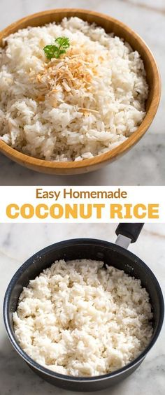 This easy Coconut Rice recipe is made with Jasmine rice and unsweetened coconut milk cooked on the stovetop or in the Instant Pot! easy recipe jasminerice stovetop instantpot tastesbetterfromscratch coconut coconutrice via 389772542751577835 Jasmine Rice Recipes, Coconut Milk Recipes, Coconut Jasmine Rice, Coconut Milk Rice, Rice Milk, Toasted Coconut, Side Dish Recipes, Asian Recipes, Dinner Recipes