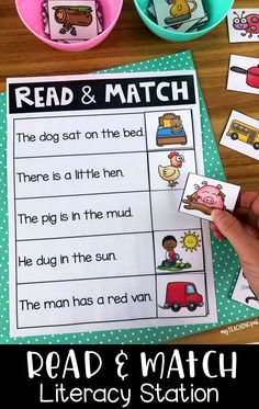 Students read the sentences which are filled with CVC words and sights words and find the matching picture. This activity is great for early readers and can help to develop comprehension. It is designed for Kindergarten learners. Reading Stations, Literacy Stations, Reading Centers, Kids Reading, Literacy Centers, Reading Center Ideas, Writing Centers, Kindergarten Reading Activities, Teaching Reading