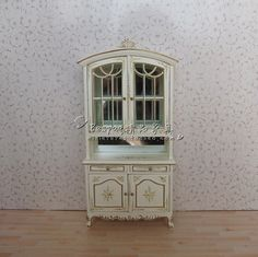 1/12 doll house mini wooden white painted floral display pantry ...